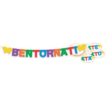 Festone Personalizzabile Bentornato / a / i / e - , in cartone Multicolore, 2,70 mt.