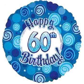 Palloncino Mylar 45 cm. 60° Happy Birthday Blue Dazzeloon