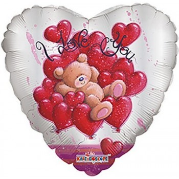 Palloncino Mylar 45 cm. Bear Over Hearts