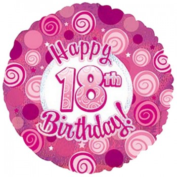 Palloncino Mylar 45 cm. 18° Happy Birthday Pink Dazzeloon