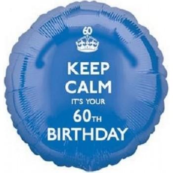 Palloncino Mylar 45 cm. 60° Keep Calm 60th Birthday