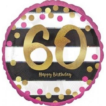 Palloncino Mylar 45 cm. 60° Pink & Gold Milestone