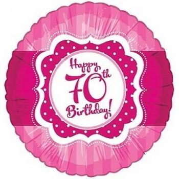 Palloncino Mylar 45 cm. 70° Happy Birthday Pink