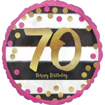 Palloncino Mylar 45 cm. 70° Pink & Gold Milestone