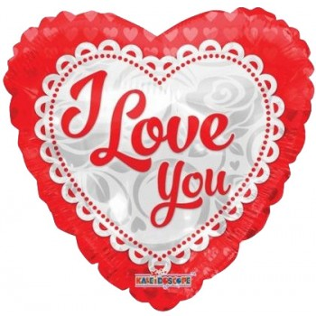 Palloncino Mylar 45 cm. I Love You Embroidery Heart