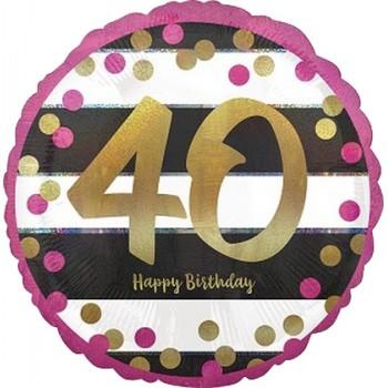Palloncino Mylar 45 cm. 40° Pink & Gold Milestone