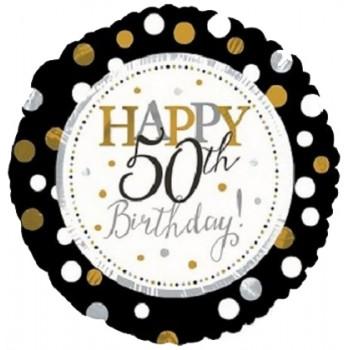 Palloncino Mylar 45 cm. 50° Age Happy Birthday