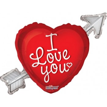 Palloncino Mylar Jumbo 91 cm. I Love You Heart With Arrow