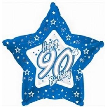 Palloncino Mylar 45 cm. 90° Blue & Silver Happy Birthday