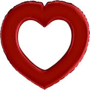 Palloncino Mylar 104x108 cm. Cuore a Ciambella Rosso concatenabile (Se gonfiato ad elio non vola)