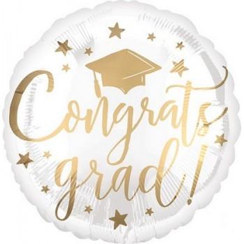 Palloncino Mylar 45 cm. Congrats Grad White & Gold