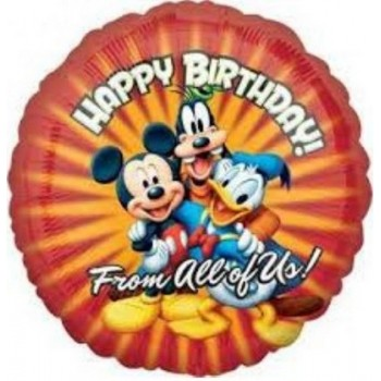 Palloncino Mylar 45 cm. Mickey Mouse & Friends Birthday From All of Us