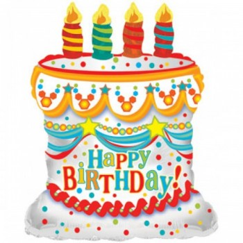 Palloncino Mylar 71 cm. White Happy Birthday Day Cake