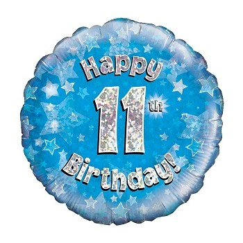 Palloncino Mylar 45 cm. Age 11° Happy Birthday Blue Holographic