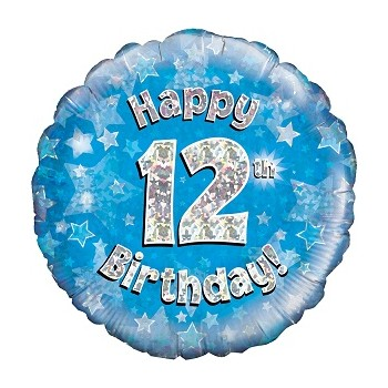 Palloncino Mylar 45 cm. Age 12° Happy Birthday Blue Holographic