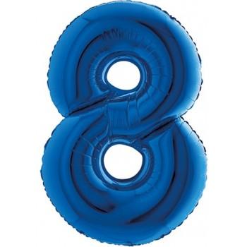 Palloncino Mylar Numero Maxi Blu 8 - 100 cm.