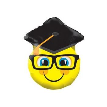 Palloncino Mylar Mini Shape 30 cm. Smiley With Grad Cap