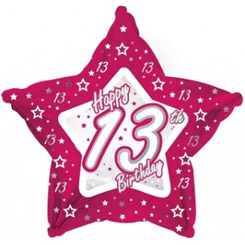 Palloncino Mylar 45 cm. Age 13° Pink & Silver Happy Birthday