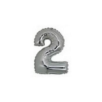 Palloncino Mylar Numero Micro 2 - Argento - 17 cm.