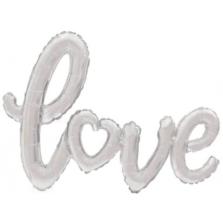 Palloncino Mylar Super Shape 120 cm. Love Cuoricino Argento - NO ELIO