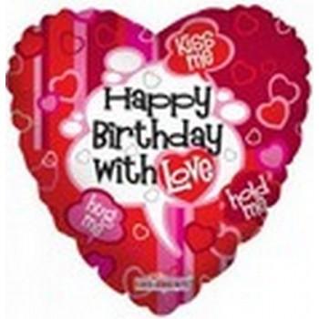 Palloncino Mylar 45 cm. C - Happy Birthday With Love Heart