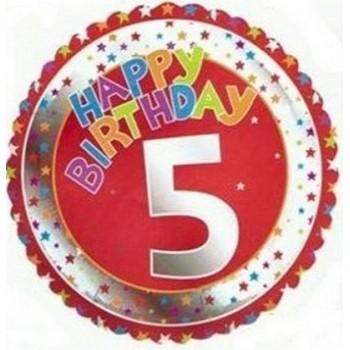 Palloncino Mylar 45 cm. Age 5° Happy Birthday Red - Silver