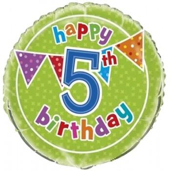 Palloncino Mylar 45 cm. Age 5° Polka Dot Birthday