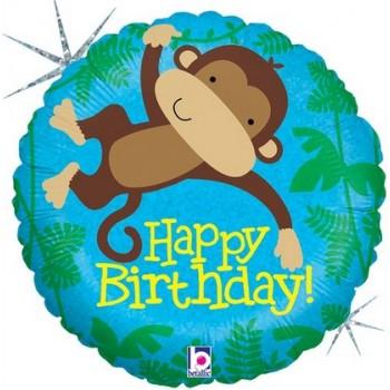 Palloncino Mylar 45 cm. R - Monkey Buddy Birthday Holographic