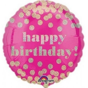 Palloncino Mylar 45 cm. R - Happy Birthday Pink Confetti Gold Dots