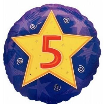 Palloncino Mylar 45 cm. Age 5° Star Blue Birthday