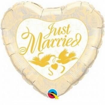 Palloncino Mylar Jumbo 91 cm. Just Married Ivory & Gold