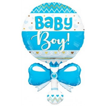 Palloncino Mylar Super Shape 91 cm. Boy - Baby Rattle Blue