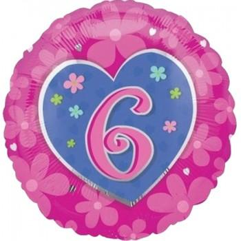 Palloncino Mylar 45 cm. Age 6° Flower Blue Birthday