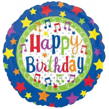 Palloncino Mylar 45 cm. R - Happy Birthday Music notes & Stars
