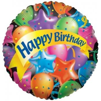 Palloncino Mylar 45 cm. R - Happy Birthday Festive