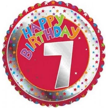 Palloncino Mylar 45 cm. Age 7° Happy Birthday Red - Silver