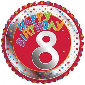 Palloncino Mylar 45 cm. Age 8° Children's Milestone Happy Birthday
