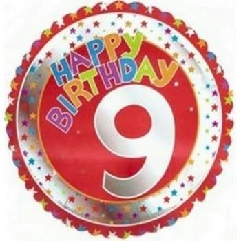Palloncino Mylar 45 cm. Age 9° Happy Birthday Red - Silver