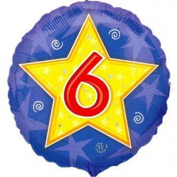 Palloncino Mylar 45 cm. Age 6° Star Blue Birthday