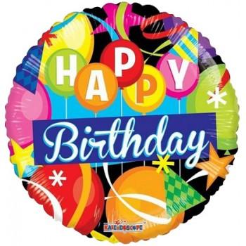 Palloncino Mylar 45 cm. R - Happy Birthday Motifs