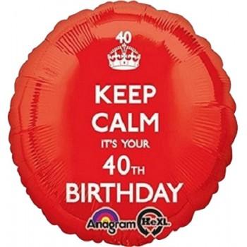 Palloncino Mylar 45 cm. 40° Keep Calm BirthdayRosso