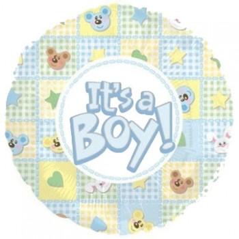 Palloncino Mylar 45 cm. Boy - It's a Boy Bear and Bunnies