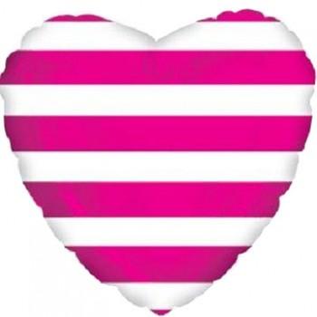 Palloncino Mylar 45 cm. C. Strisce Hot Pink