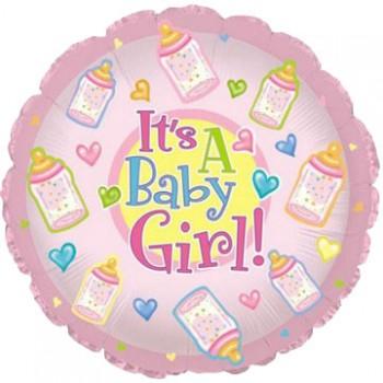Palloncino Mylar 45 cm. Girl - Baby Girl Bottles