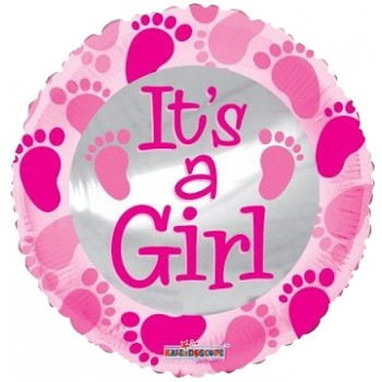 Palloncino Mylar 45 cm. Girl - Baby Pink Foot Prints