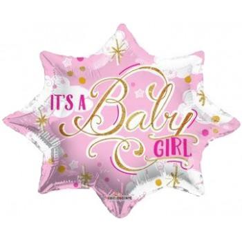 Palloncino Mylar 45 cm. Girl - It's a Baby Girl Shape