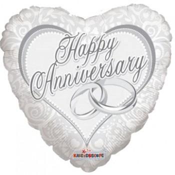 Palloncino Mylar 45 cm. Happy Anniversary Rings