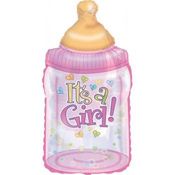 Palloncino Mylar Super Shape 96 cm. Girl - Baby Bottle Girl