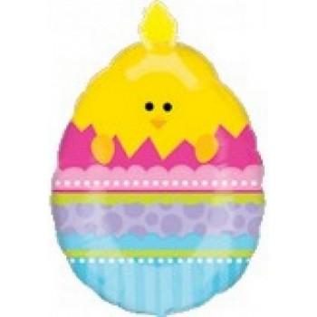 Palloncino Mylar Super Shape 68 cm. Easter Doo Dad Chick In Egg Easter