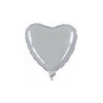 Palloncino Mylar Micro 10 cm. Cuore Argento